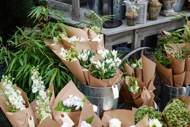 Flower shop Sweet Woodruff's Club Monaco Inspired bouquets