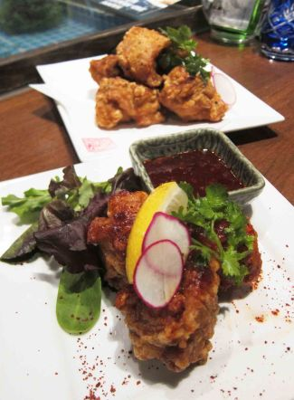 "Famous ""O-Sho Restaurant"" Karaage with Magic Powder (8.8) and Kingyo Style Death Chicken (7.8)"