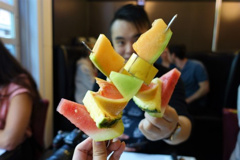 complimentary fruit skewers to start