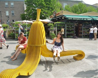 Sit on the banana peel at Mont-Royal station