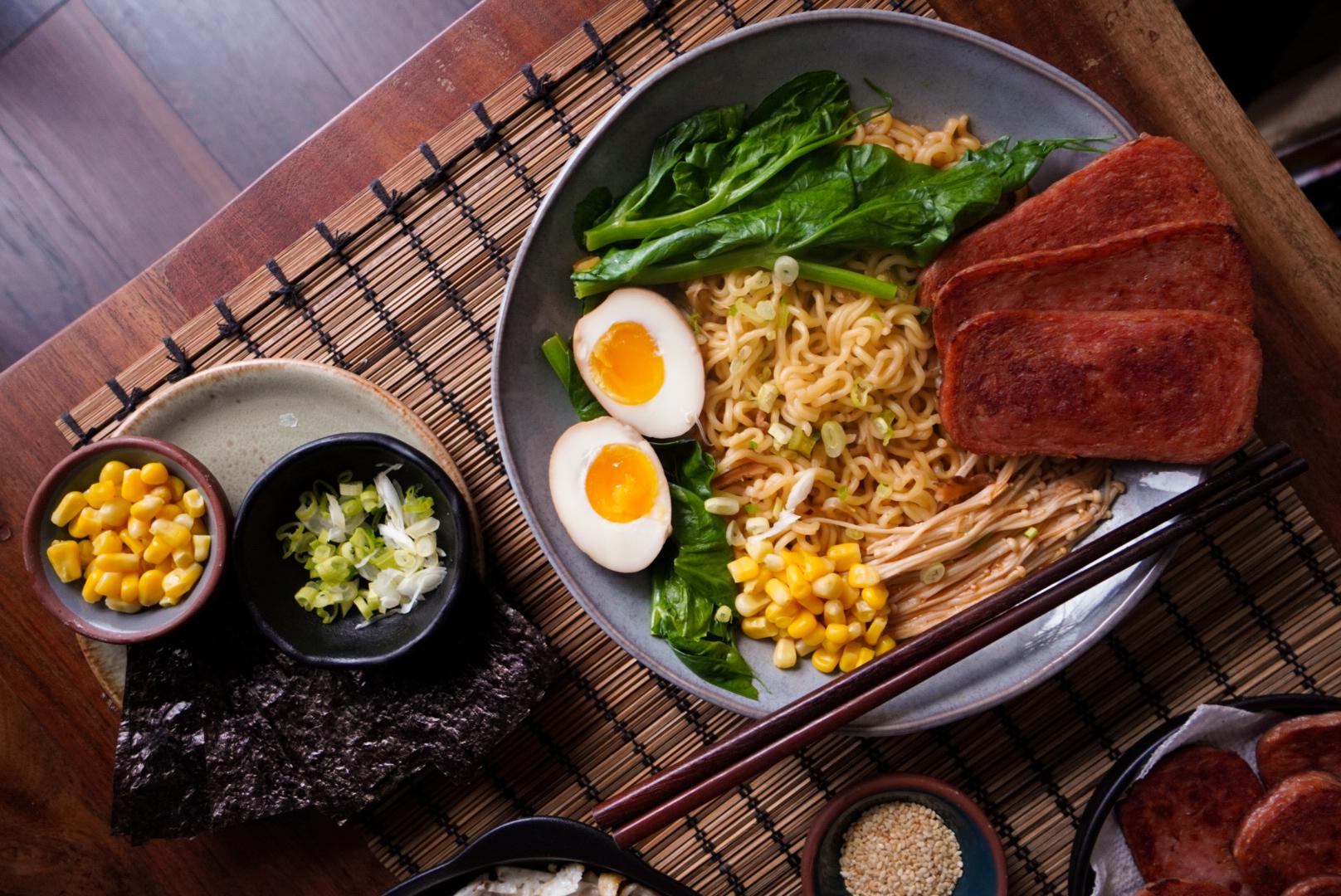 instant noodles ramen shin ramyun spam corn egg vegetables green onion